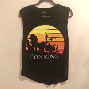 Disney the lion king graphic tank top black sunset